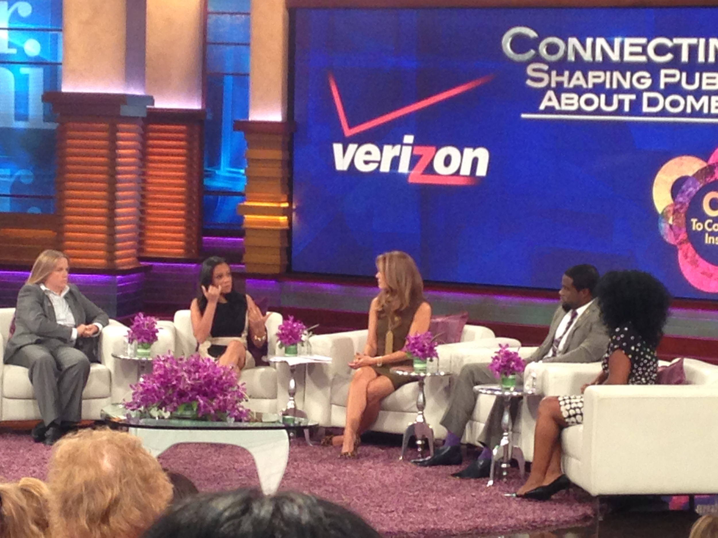 (Left to right) Judge Katherine Tennyson, MSNBC's Goldie Taylor, CNN/HLN's Christi Paul, former NFL player Chris Johnson and Beverly Gooden, creator of the #WhyIStayed Movement, discuss public perception about domestic violence.