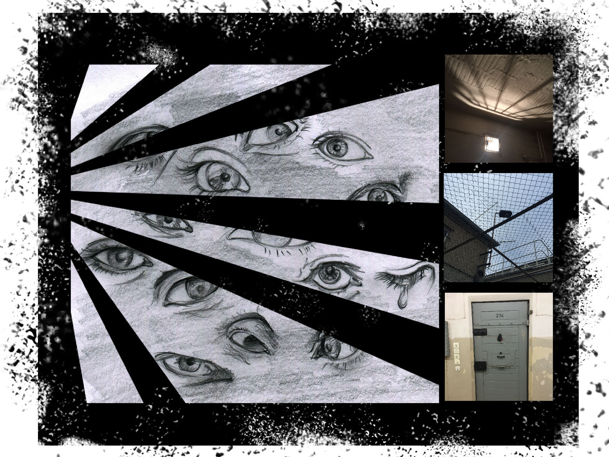 """Sep 23 Gedenkstätte Berlin-Hohenschönhausen Before going to this notorious prison, I watched the movie """"The lives of others"""" and that made me mentally immersed into this space more. The sketch was inspired by the lighting in the prison. Lots of eyes represent the the fear of prisoners, victims, suffered families as well as Nazi surveillance. Paradise Circus is the song I would listen over and over again when I feel depressed."""
