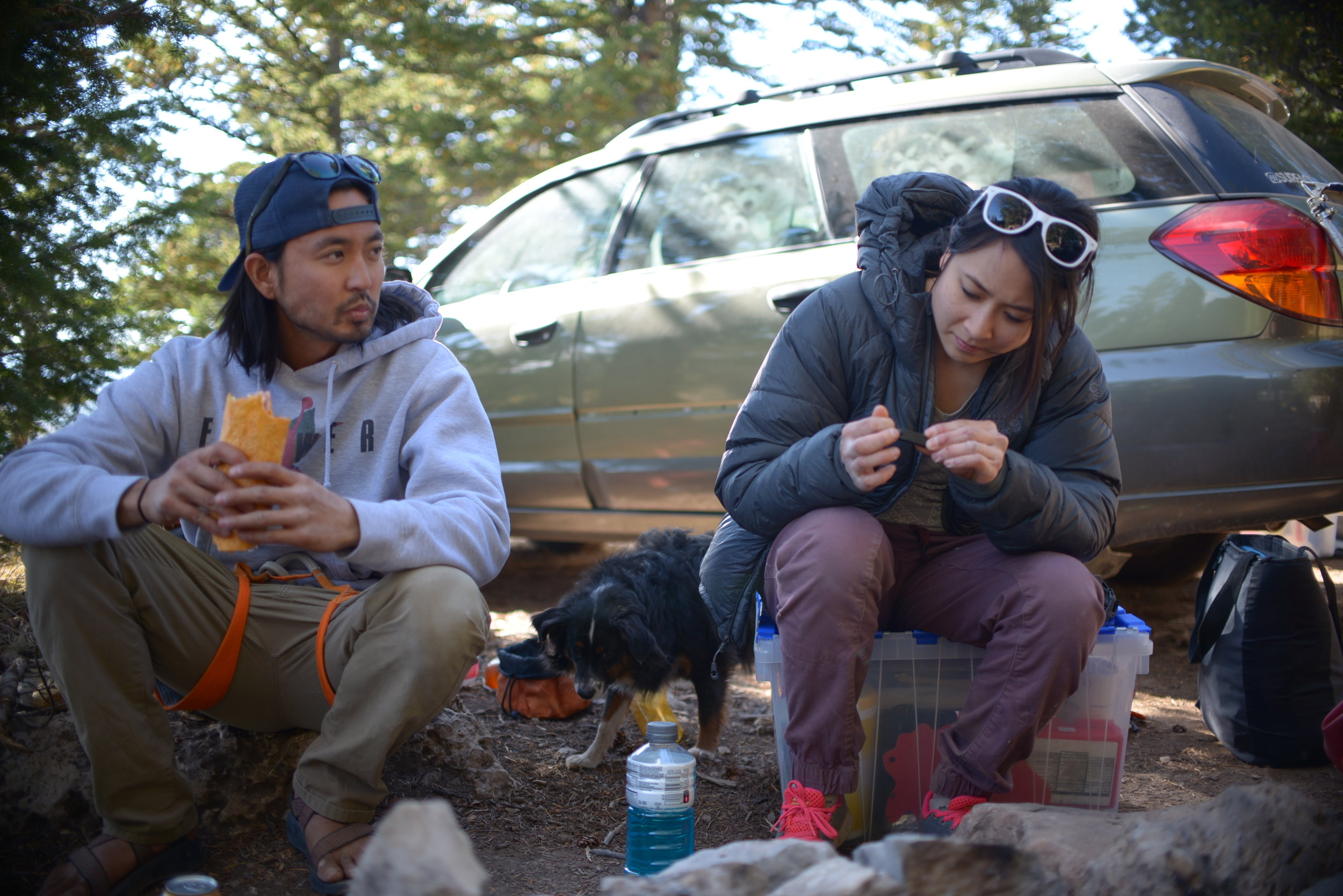 Replenish energy and clipping nails are essential for climbers.