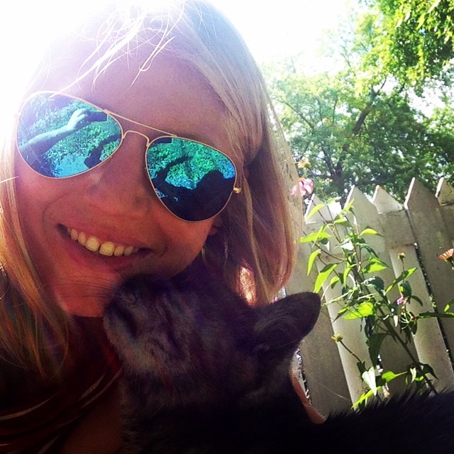 Kitty kisses from my Oliver cat while gardening this summer