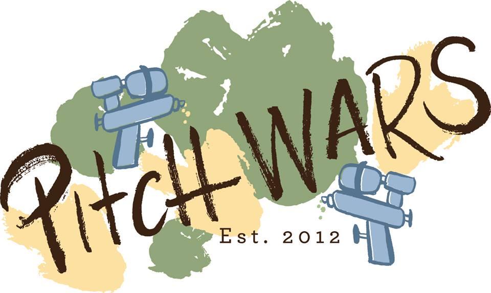 Image: Pitch Wars logo with water guns.