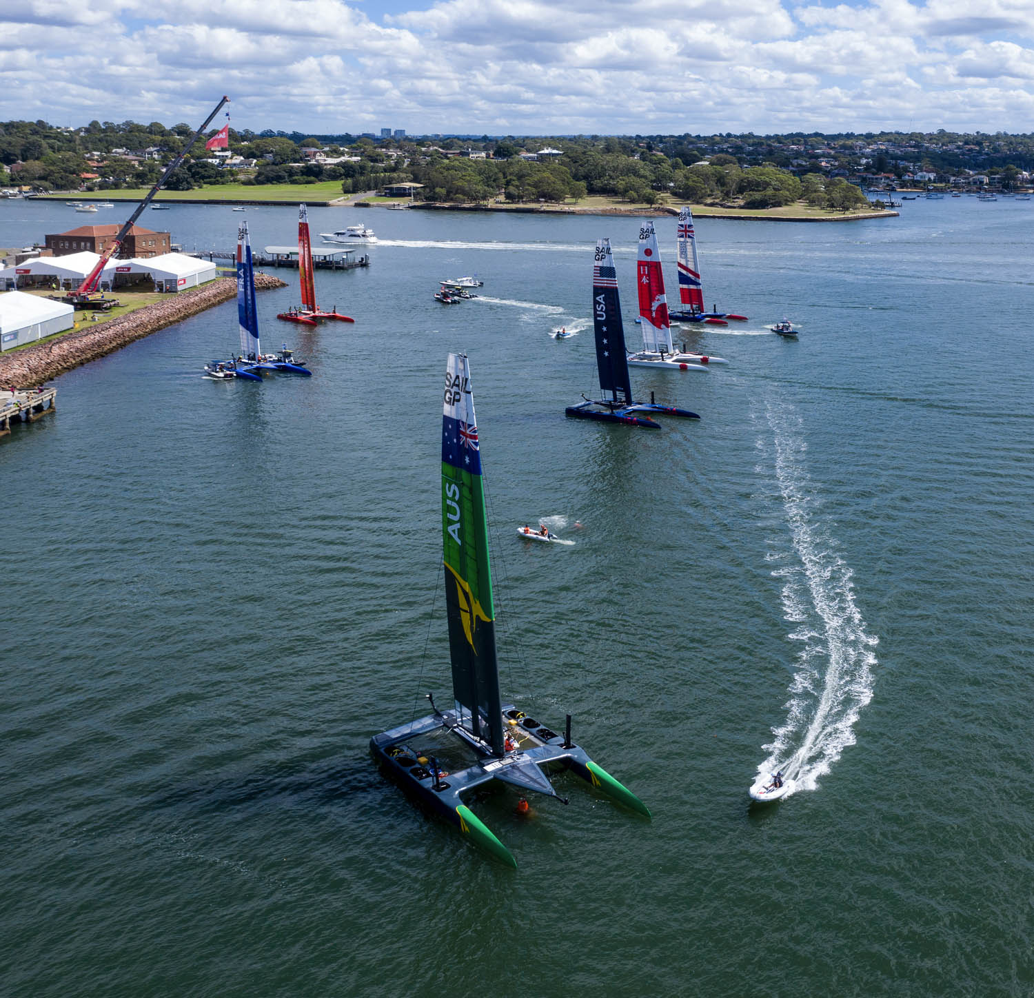 Lots of activity as the teams prepare for SailGP race one at the Cockatoo Island base