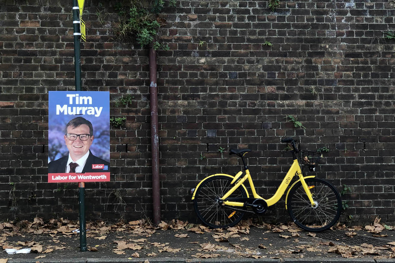 Tim Murry - probably didn't have a big chance in the blue ribbon Liberal seat of Wentworth but he entered the game with a confidence building photo.