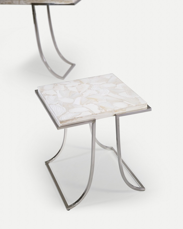 Co-Creative Studio, Detalia Aurora, Pi Tables, Fossilized Clamstone Shell Lamination, Stainless Steel A.jpg