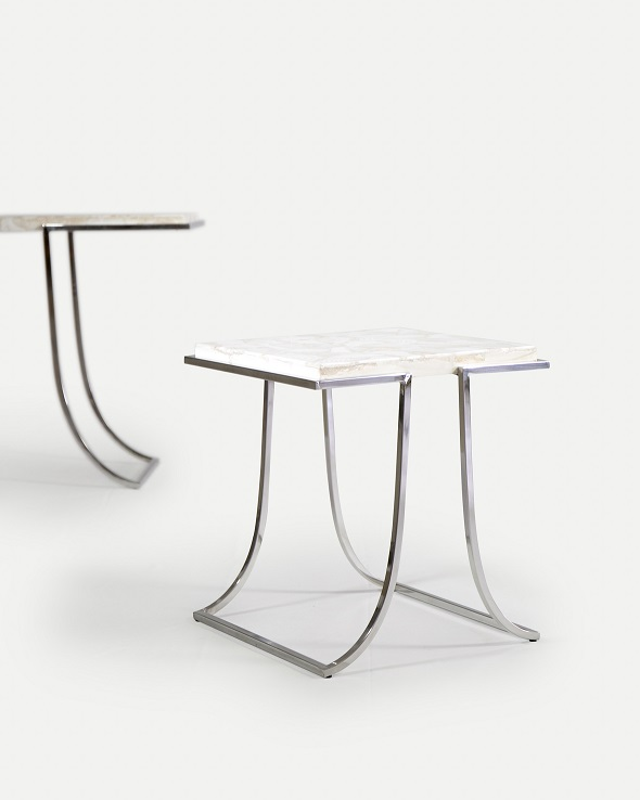 Co-Creative Studio, Detalia Aurora, Pi Tables, Fossilized Clamstone Shell Lamination, Stainless Steel.jpg