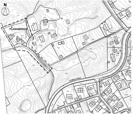 Illustrasjon 1 Utsnitt planområde, avgrensning med stiplet tykk strek