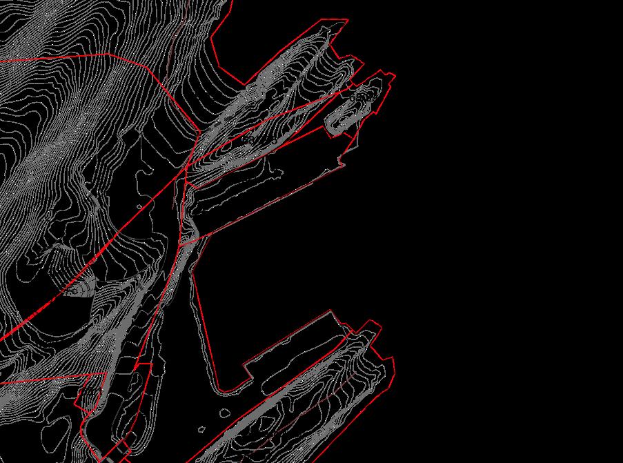 Utsnitt planområdet: Planens avgrensing vises med stiplet, tykk strek