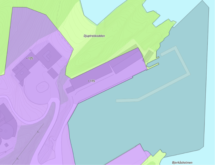 I kommuneplanen er området avsatt til næringsbebyggelse - nåværende (lilla).