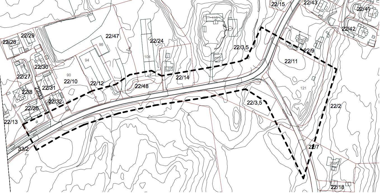 Utsnitt nytt planområde, avgrensing med stiplet tykk strek.