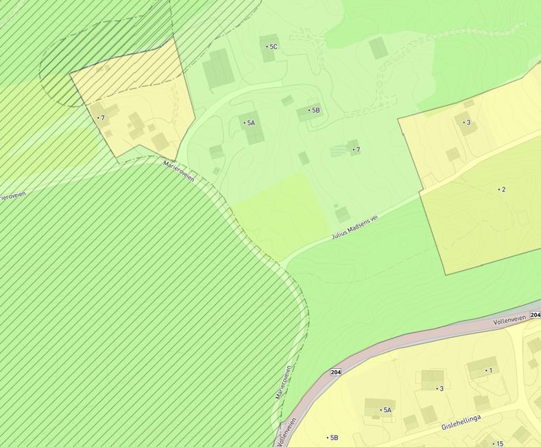 Illustrasjon 2: Utsnitt kommuneplan 2018-2030, Marieroveien 7 vist med stiplet strek.
