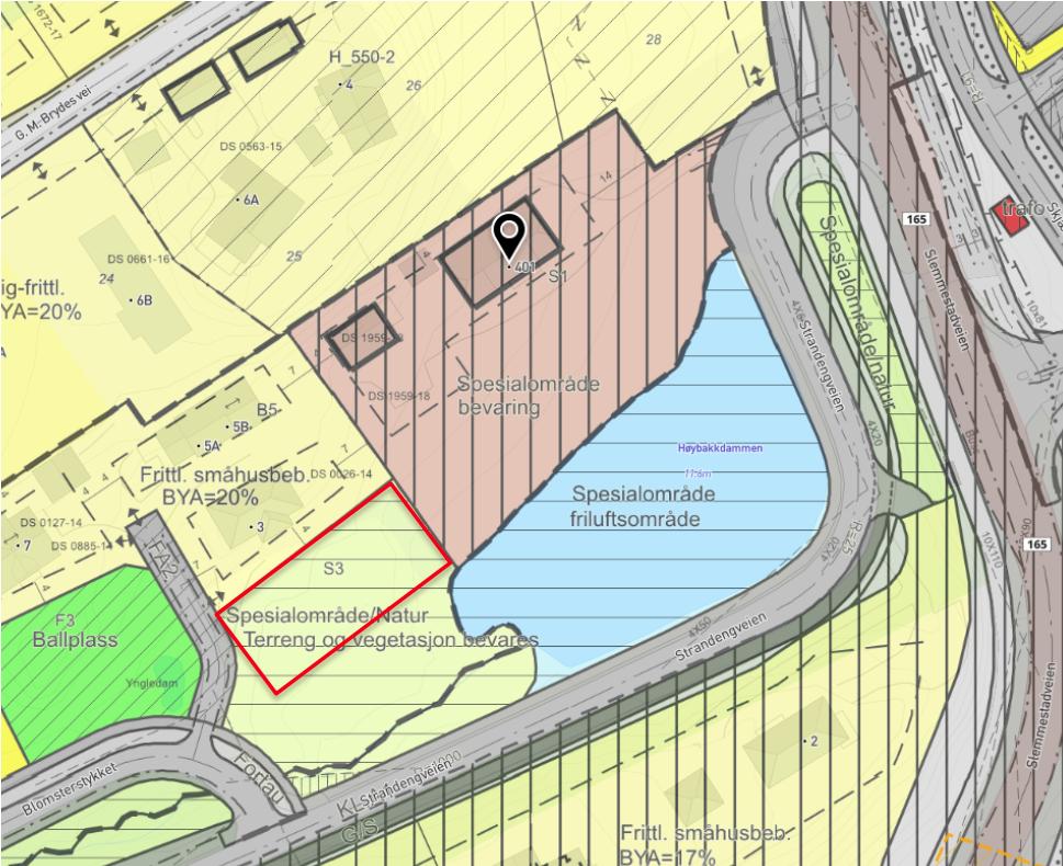 Illustrasjon 2: Utsnitt reguleringsplanen Vesleheimen. Rød figur indikerer plassering av ny boligtomt.