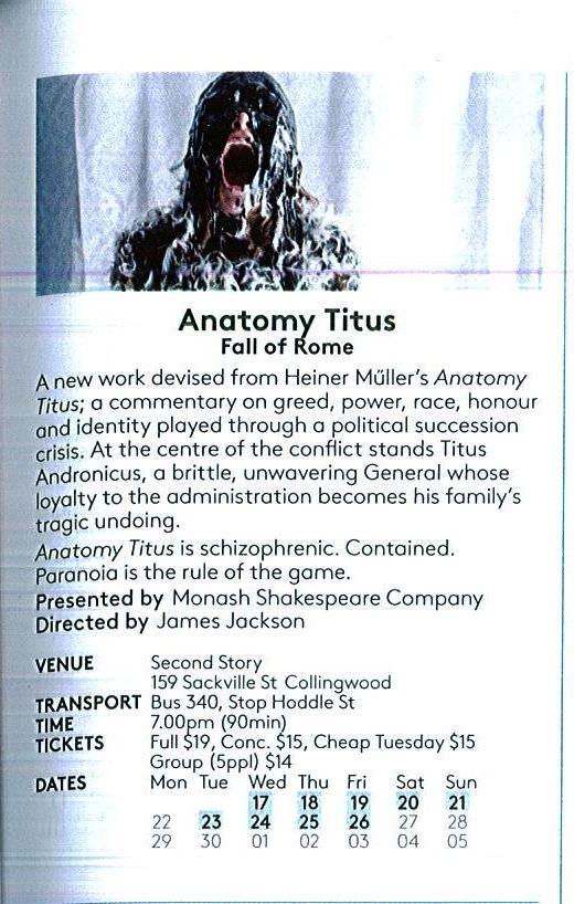 Anatomy Titus/ Melbourne Fringe Festival 2014