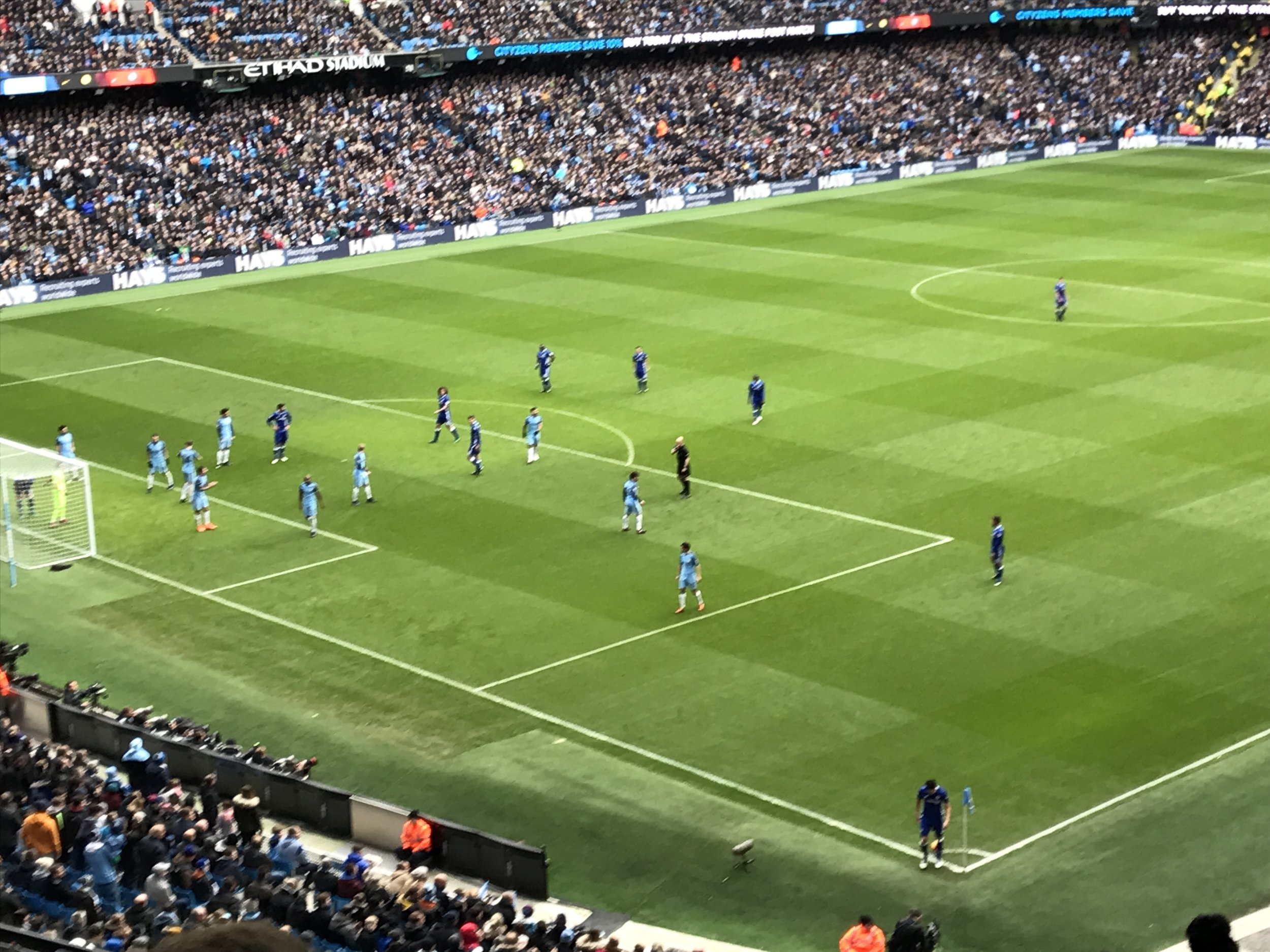 Manchester City setting up to defend a Chelsea corner at the Etihad Stadium.