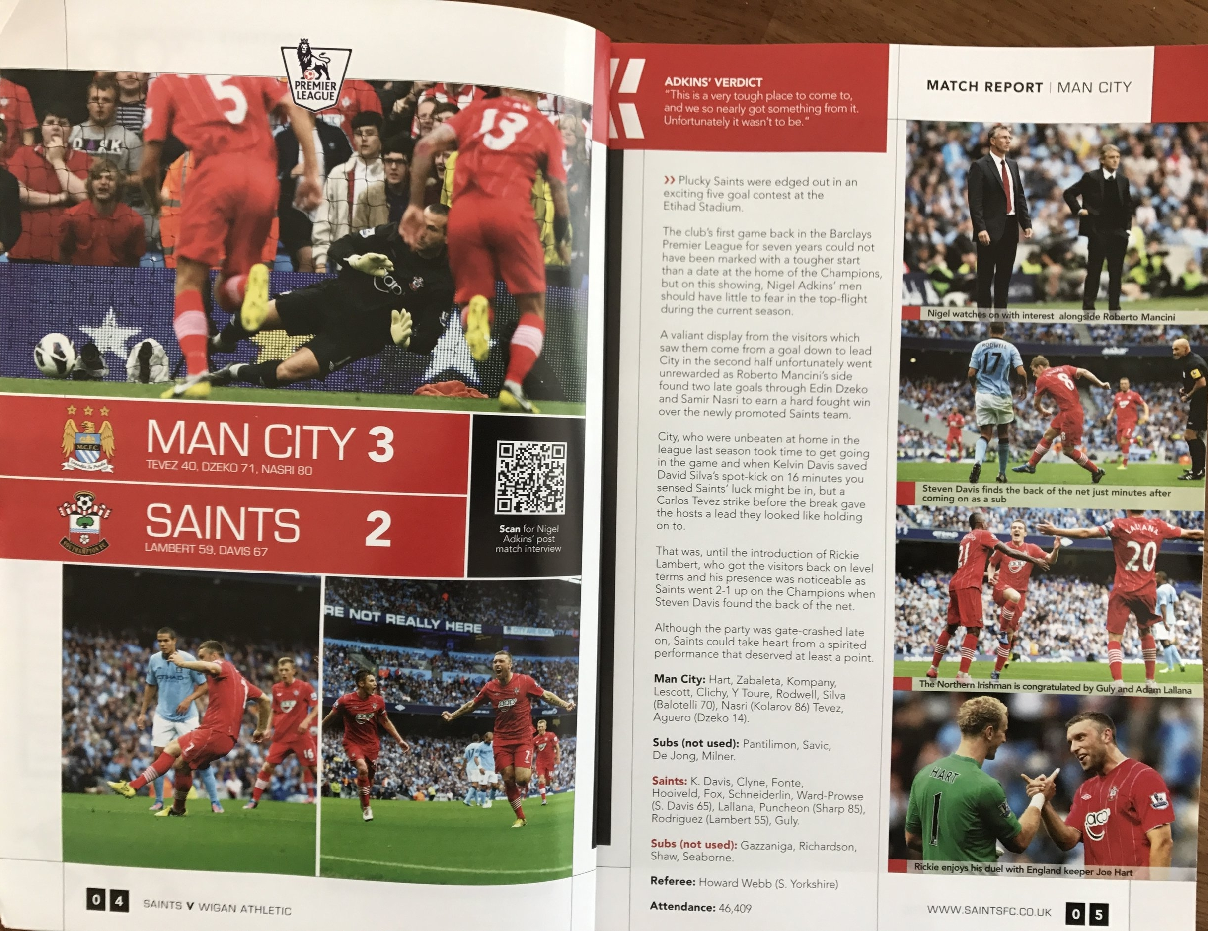 This is how the Manchester City game was reported in the Southampton match day programme against Wigan Athletic. Fantastic memories.