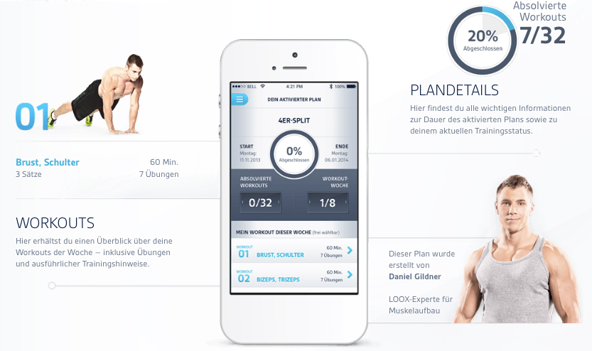 Auch mobil erhältlich! -  LOOX Fitness Planer  (App)