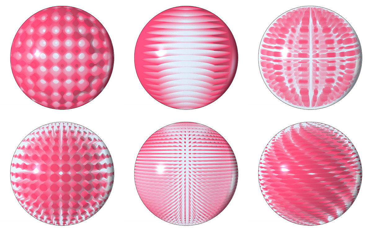 Examples of various UVW mappings of raster patterns within a spherical volume.