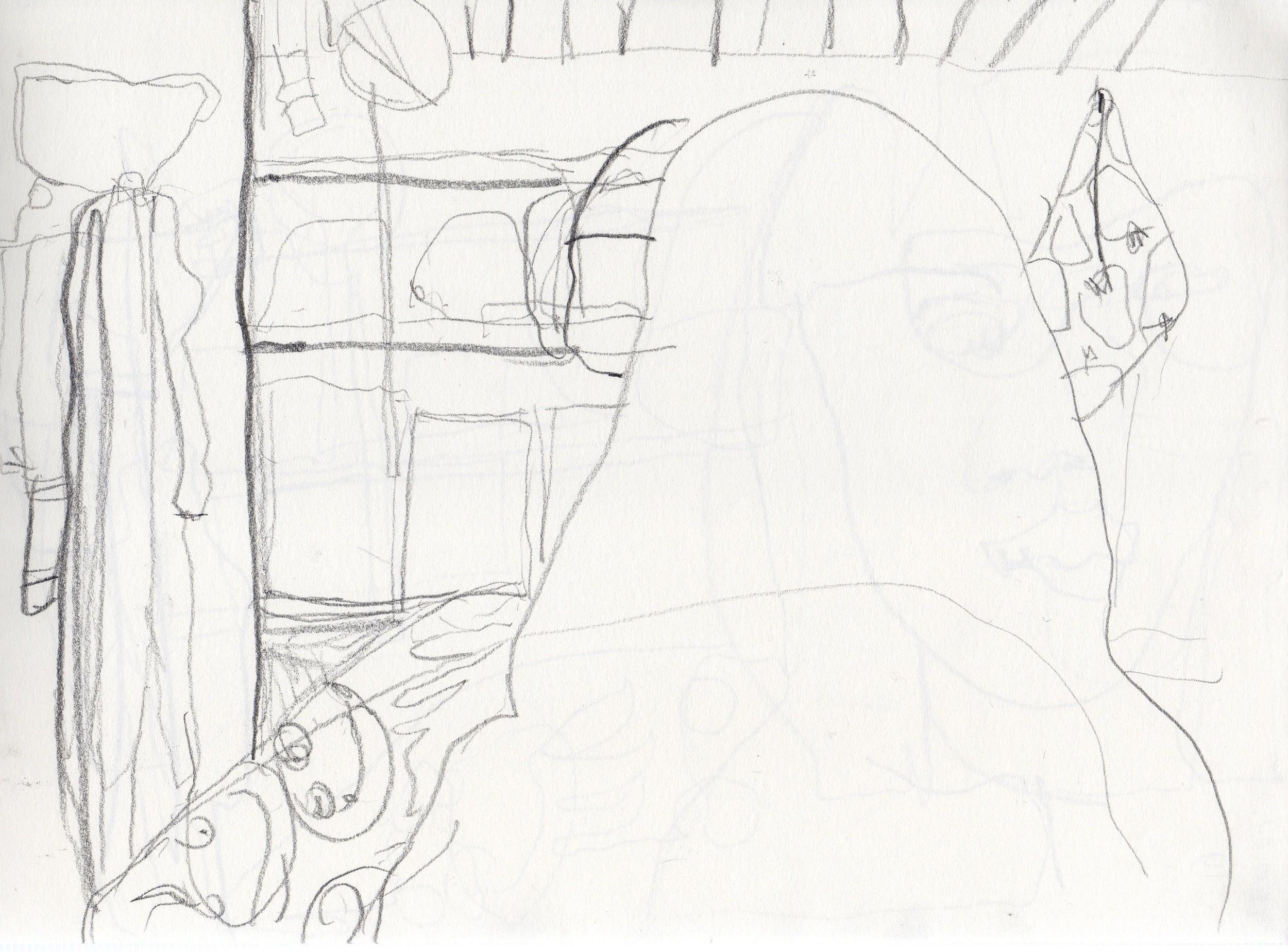 Javiera drawing the space around Mica