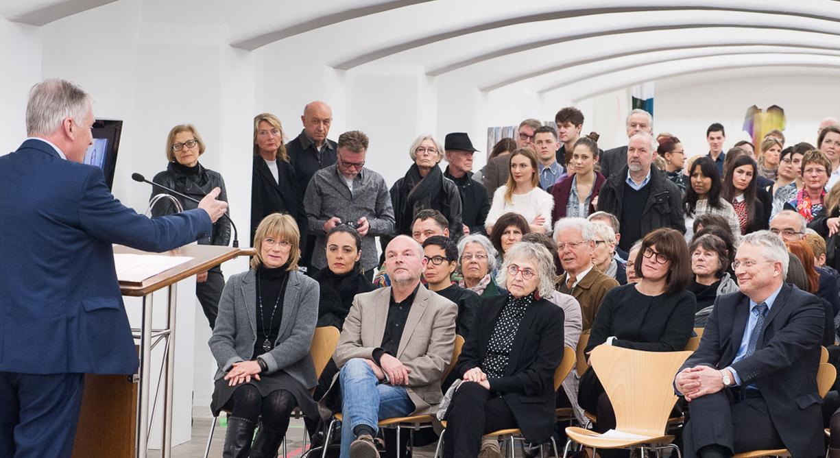 Christoph Dahl, Baden-Württemberg Stiftung, speaking at the opening. Photo: Karl Scheuring, Reutlingen