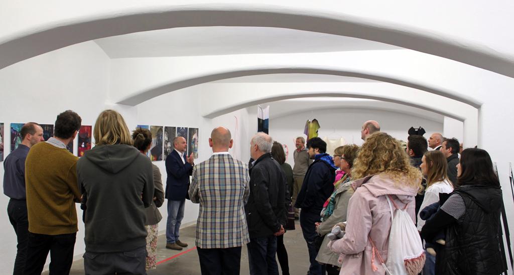 Prof. Henning Eichinger talking about the project, April 10, 2016,  Staedtische Galerie, Reutlingen , Germany. Photo: Simone Löffler