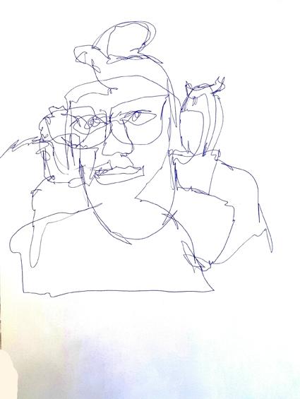 Arthur drawing Nanna, Rio-Reutlingen, 2016