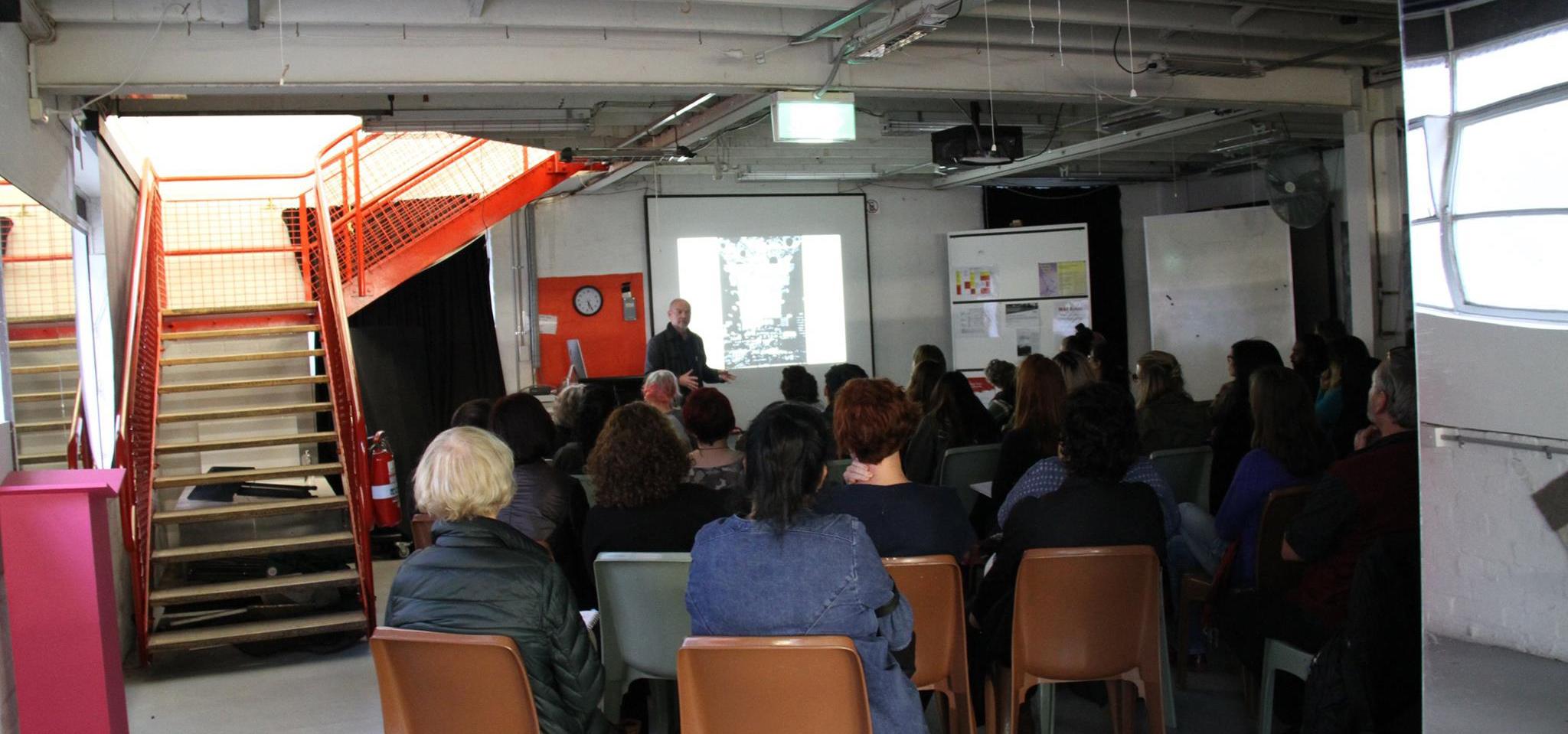 Henning Eichinger talks at MAPSopentalk,  RMIT University.  Photo: Ceri Hann