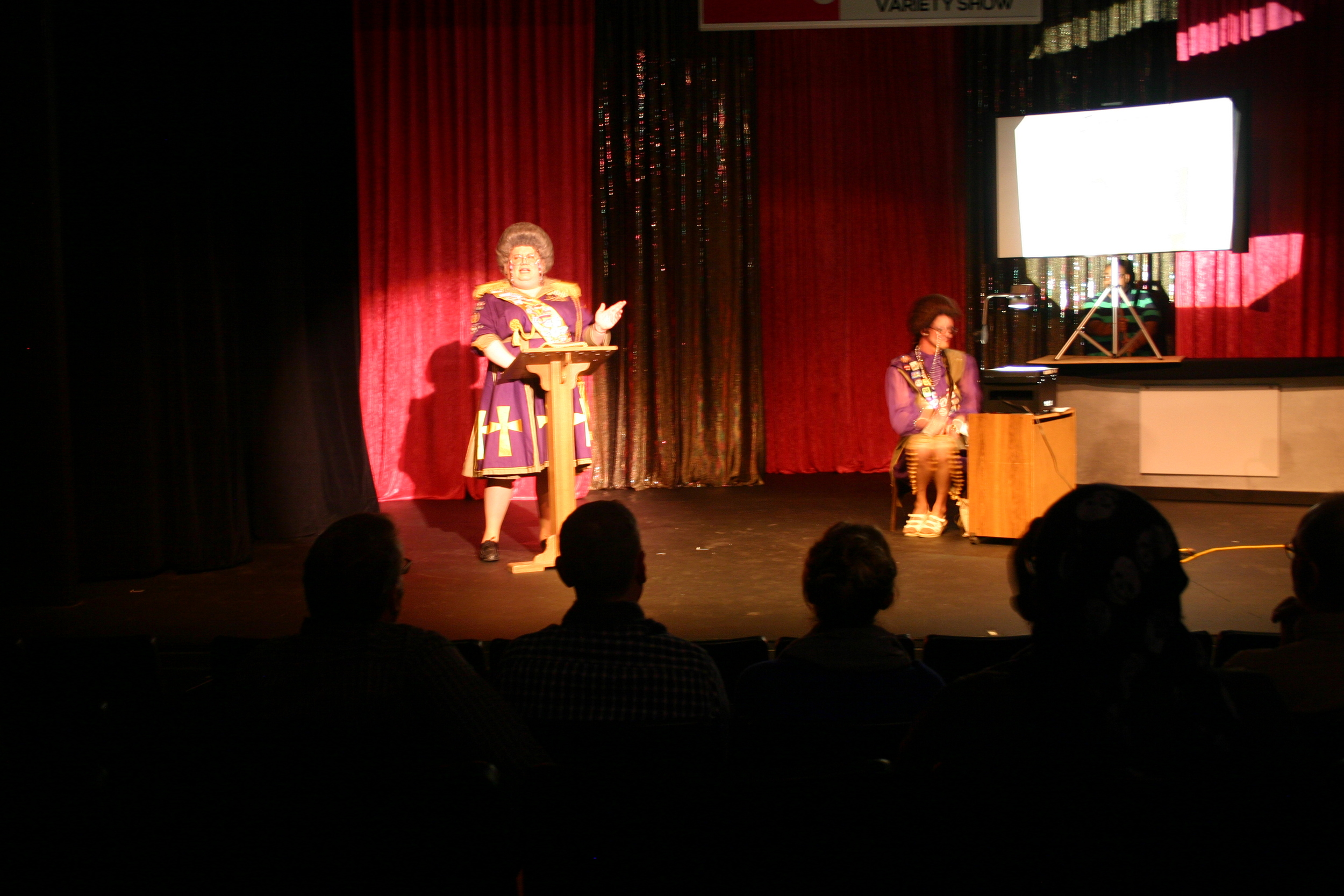 Sister Myotis and her sidekick Thelma     DragNificent Variety Show 2015    Copyright 2015 Out901.com. All rights reserved. This material may not be published, broadcast, rewritten, or redistributed.    Picture by Whitney Hardy