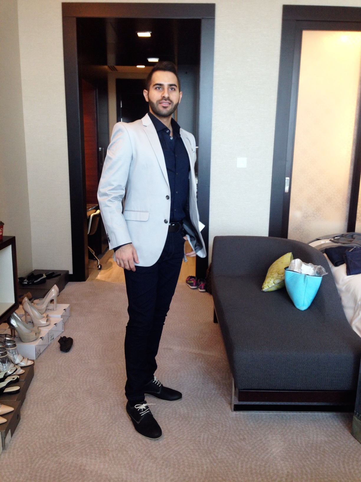 Jacket/Shirt/Jeans - Kenneth Cole, Belt - Aldo, Shoes - Pedro