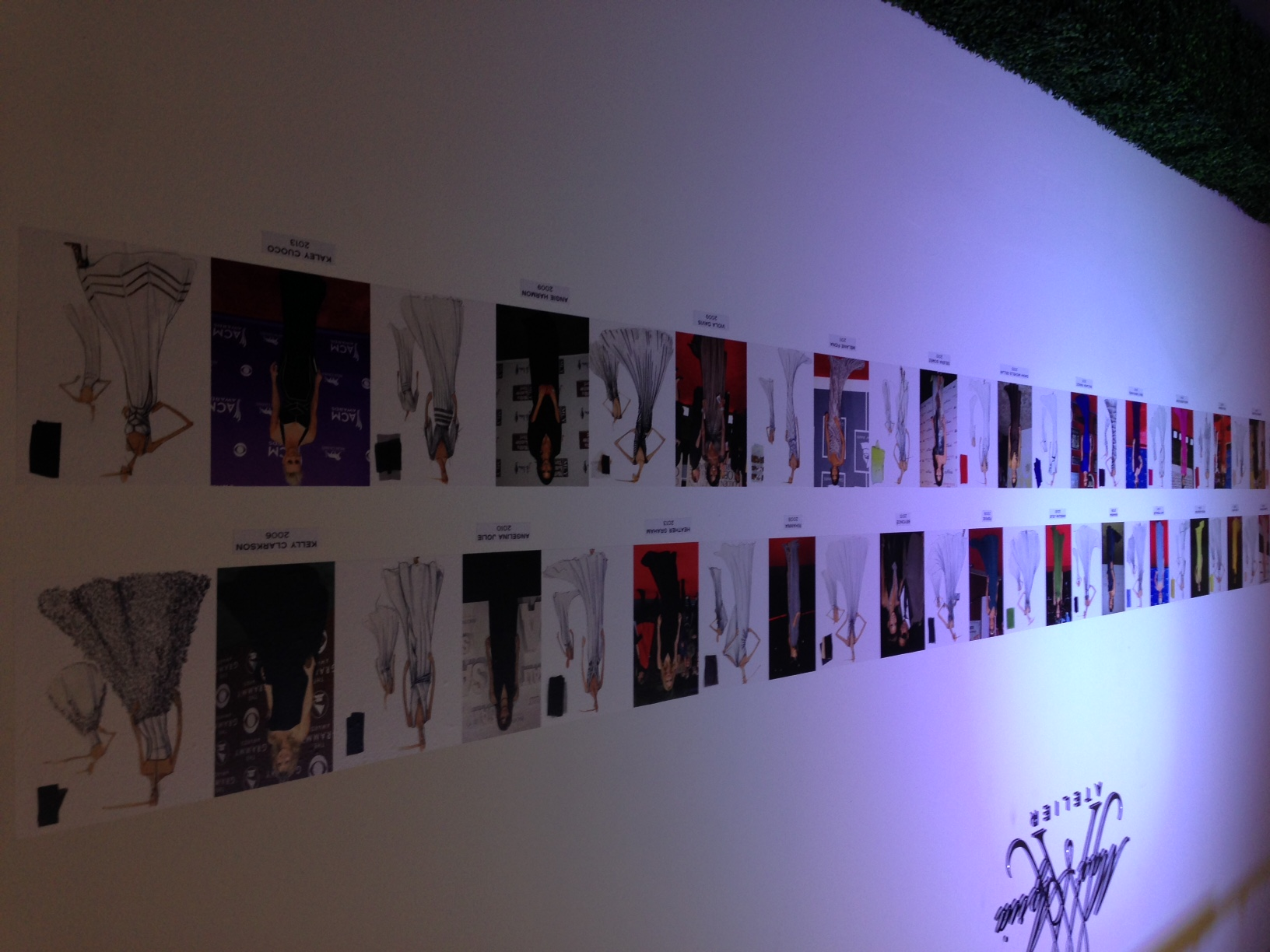 The wall of celebrities who have worn the dresses to the red carpet events