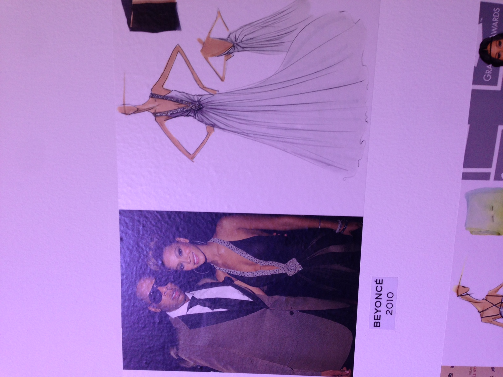 Beyonce wearing the dress and the dress sketch