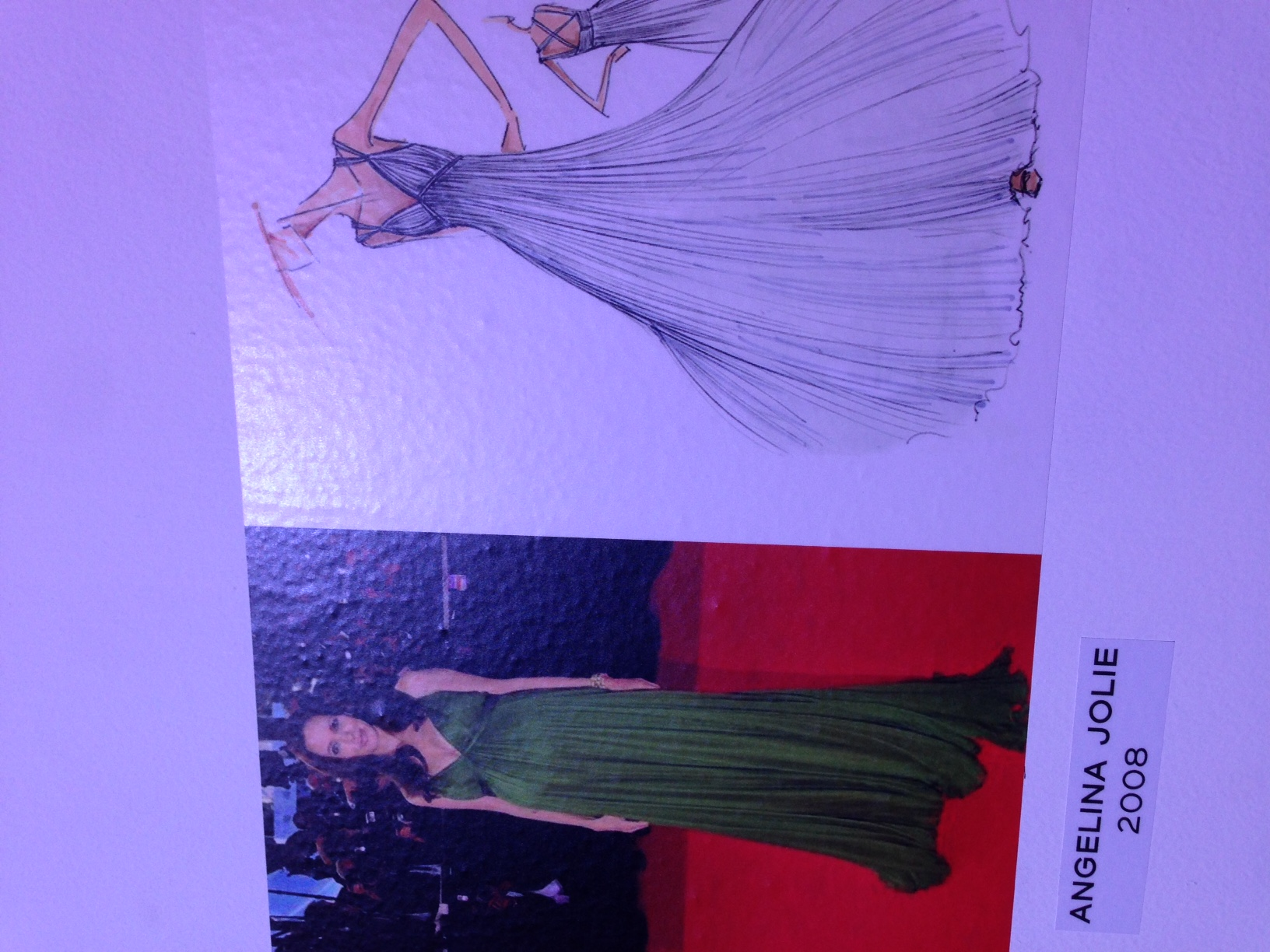 Angelina Jolie wearing the dress on the red carpet and the dress sketch