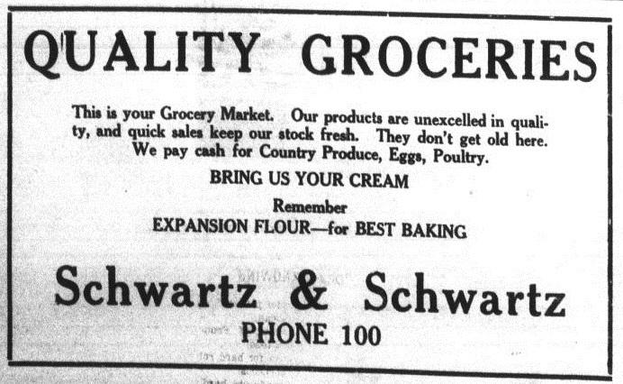 Schwartz & Schwartz newspaper ad, 1923