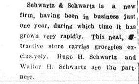 Schwartz & Schwartz newspaper mention, 1923