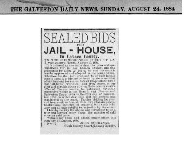 Lavaca County Jail, 1884
