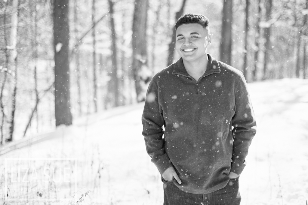 black and white snow senior pictures cleveland and akron ohio