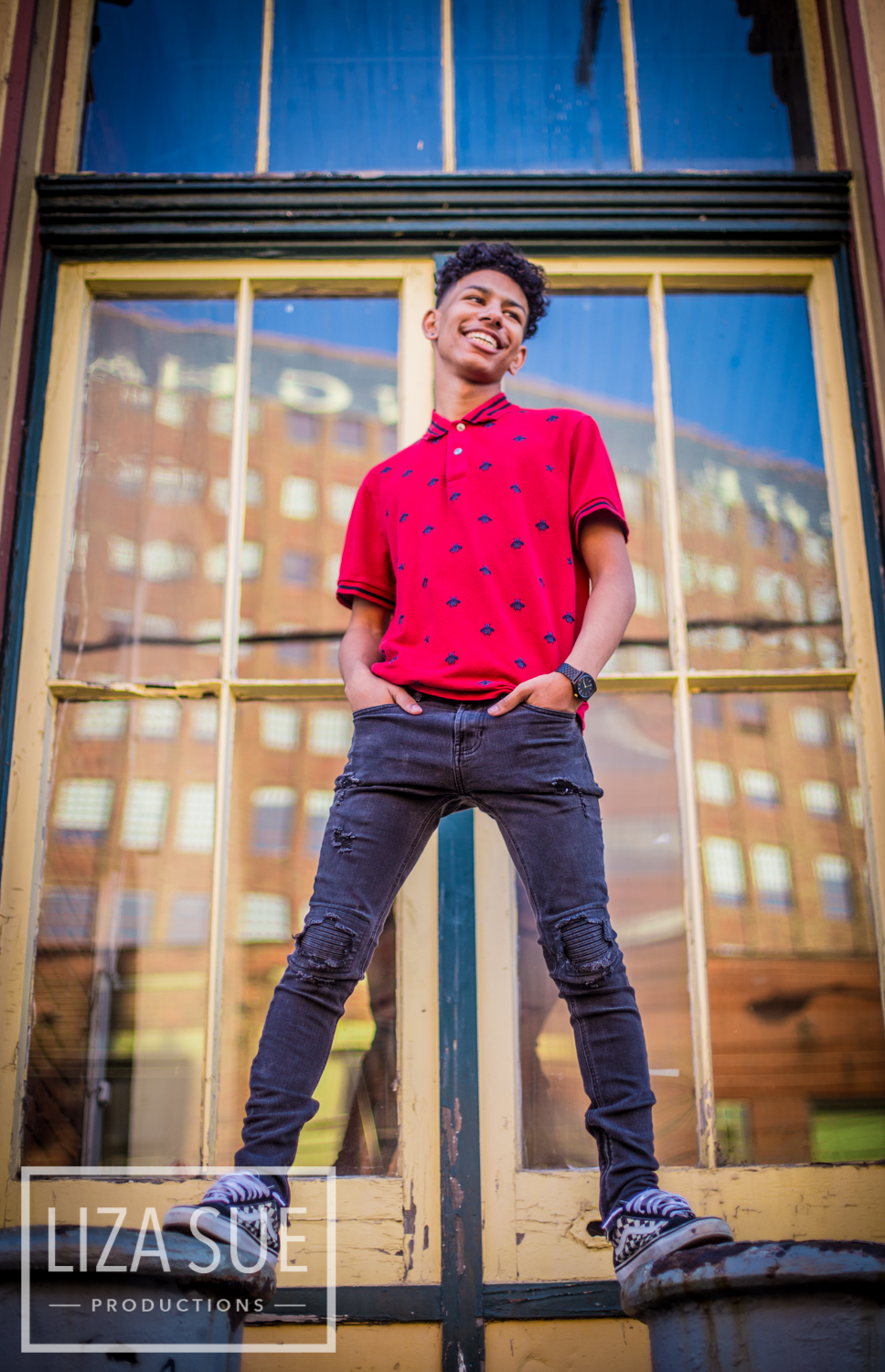downtown Cleveland Akron Guy boy Senior Portraits Liza Sue Productions