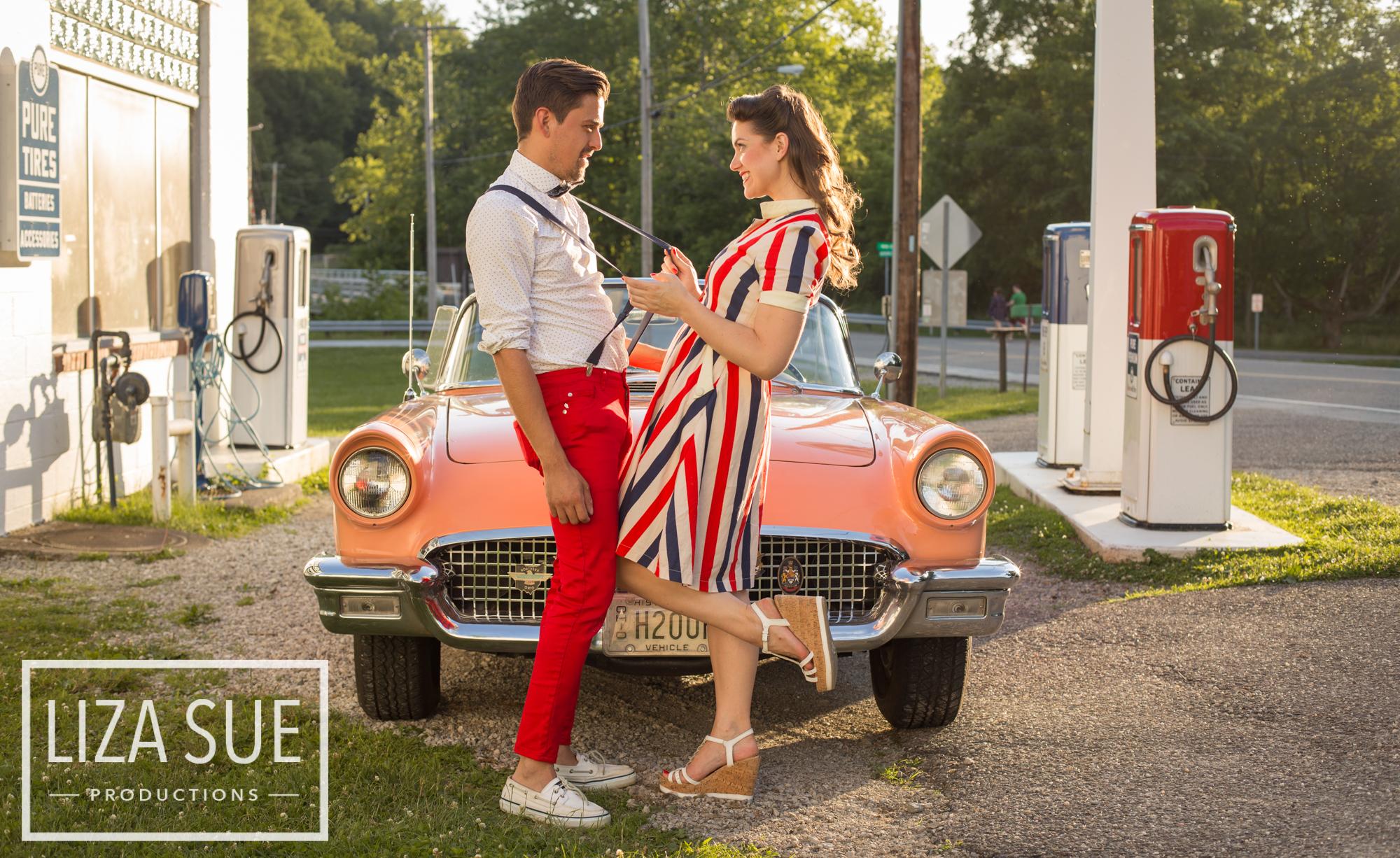 cleveland + akron vintage family photoshoot retro car 1950s engagement session