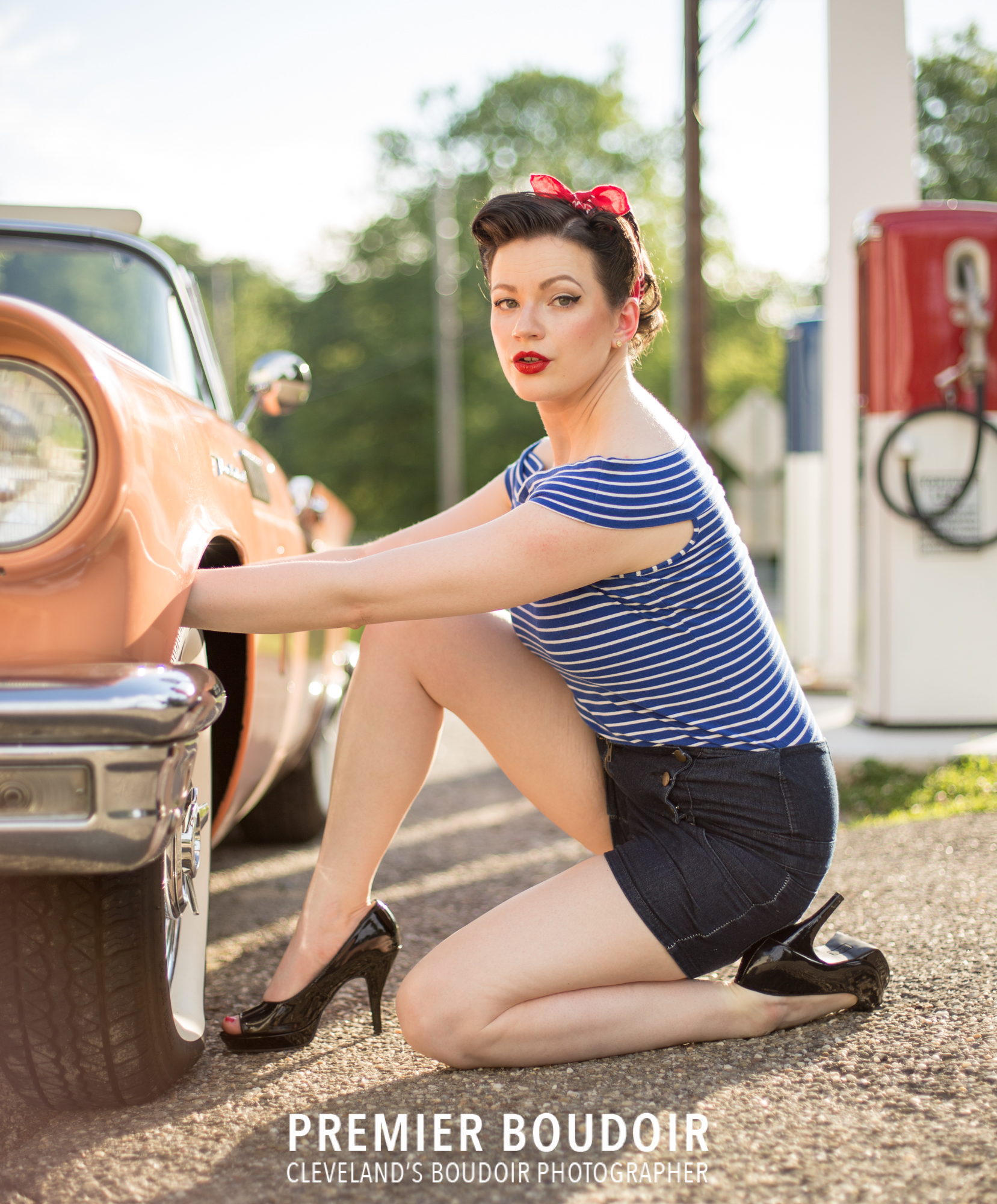 cleveland akron pinup retro boudoir classy best photography car change wheel gas station boston mills vintage