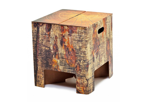 tree trunk cardboard stool