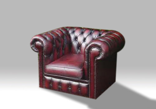 ox blood red Chesterfield armchair