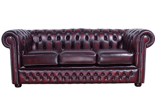 ox blood red chesterfield 3 seater sofa