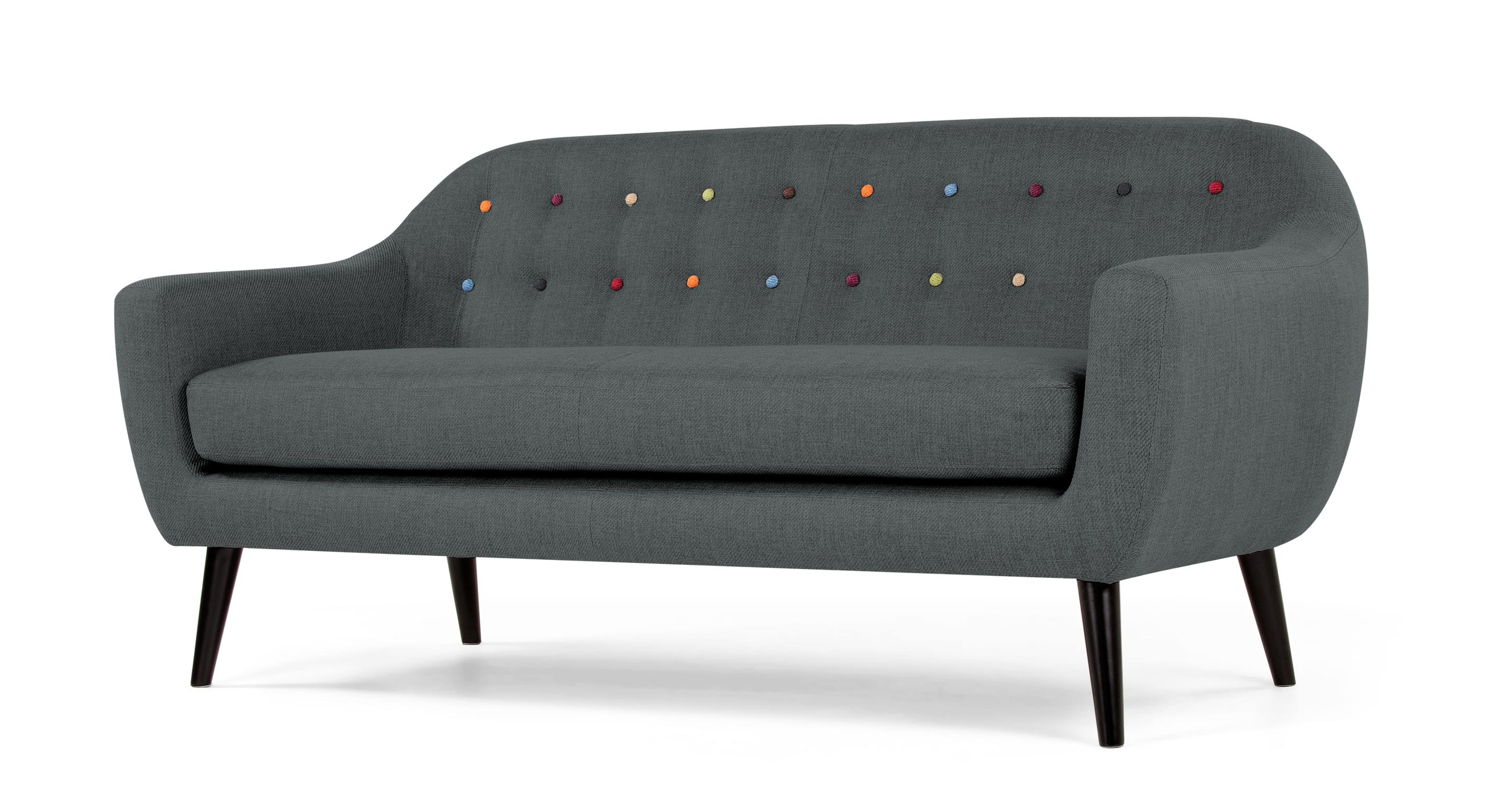 grey rainbow buttoned 2 seater sofa