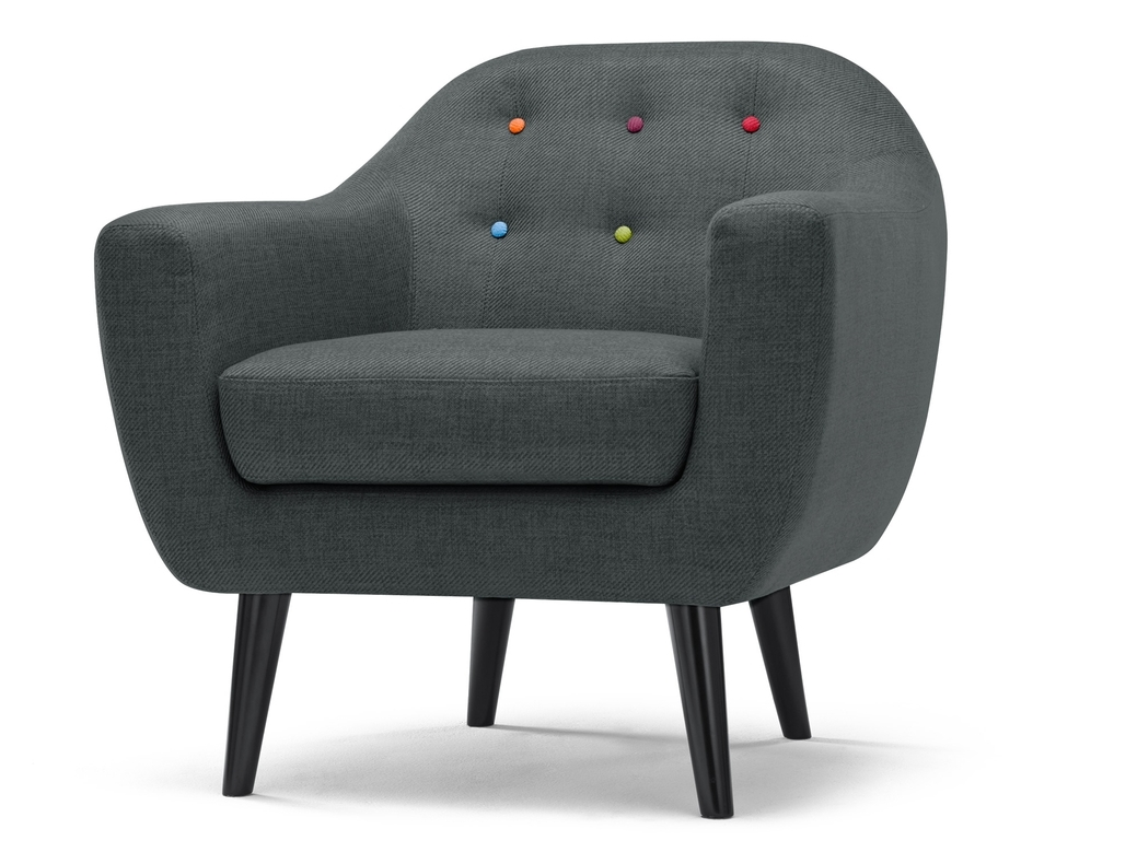 grey armchair with rainbow buttoning