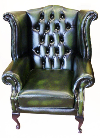 green leather effect wingback armchair
