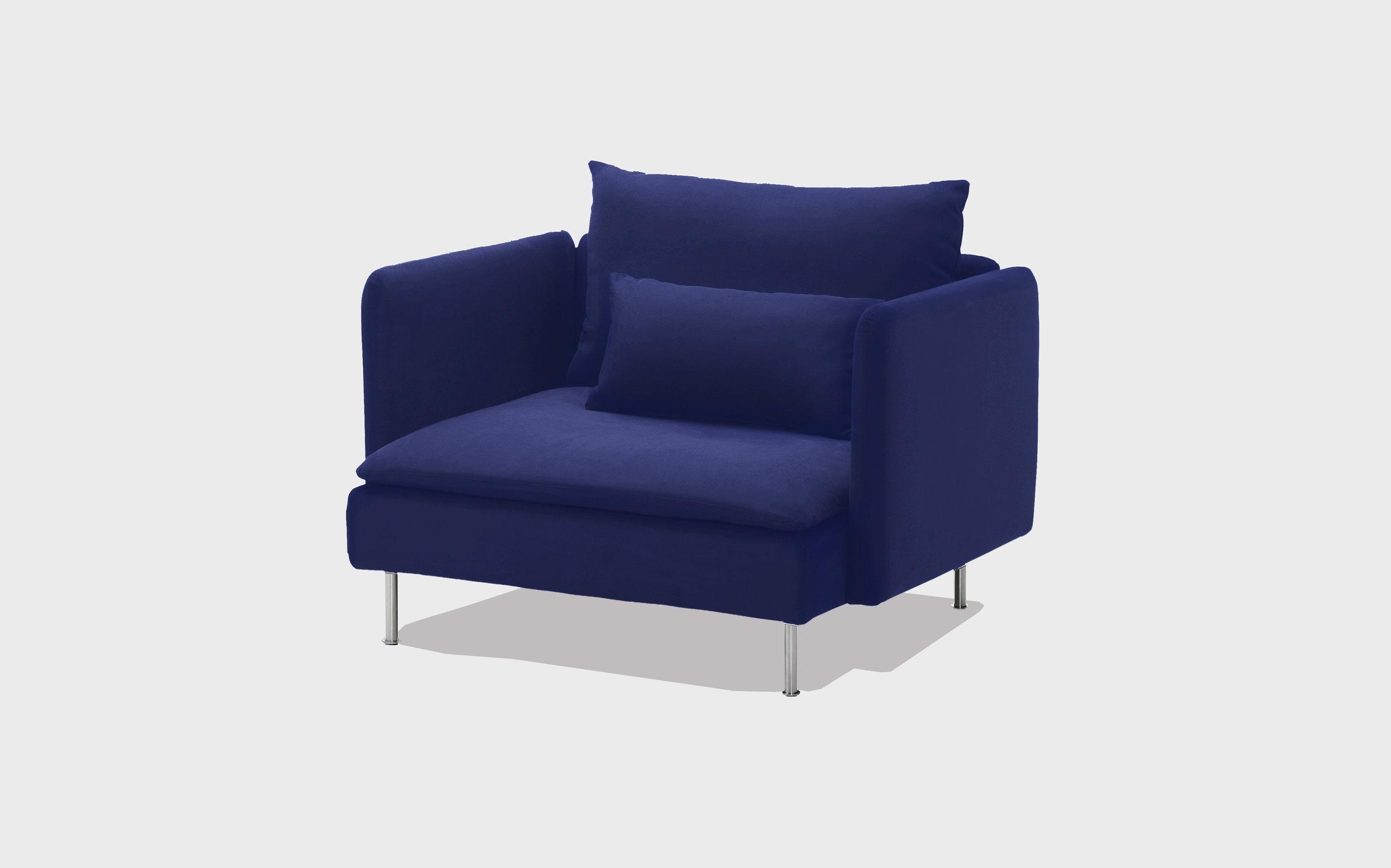 Cobalt velvet armchair