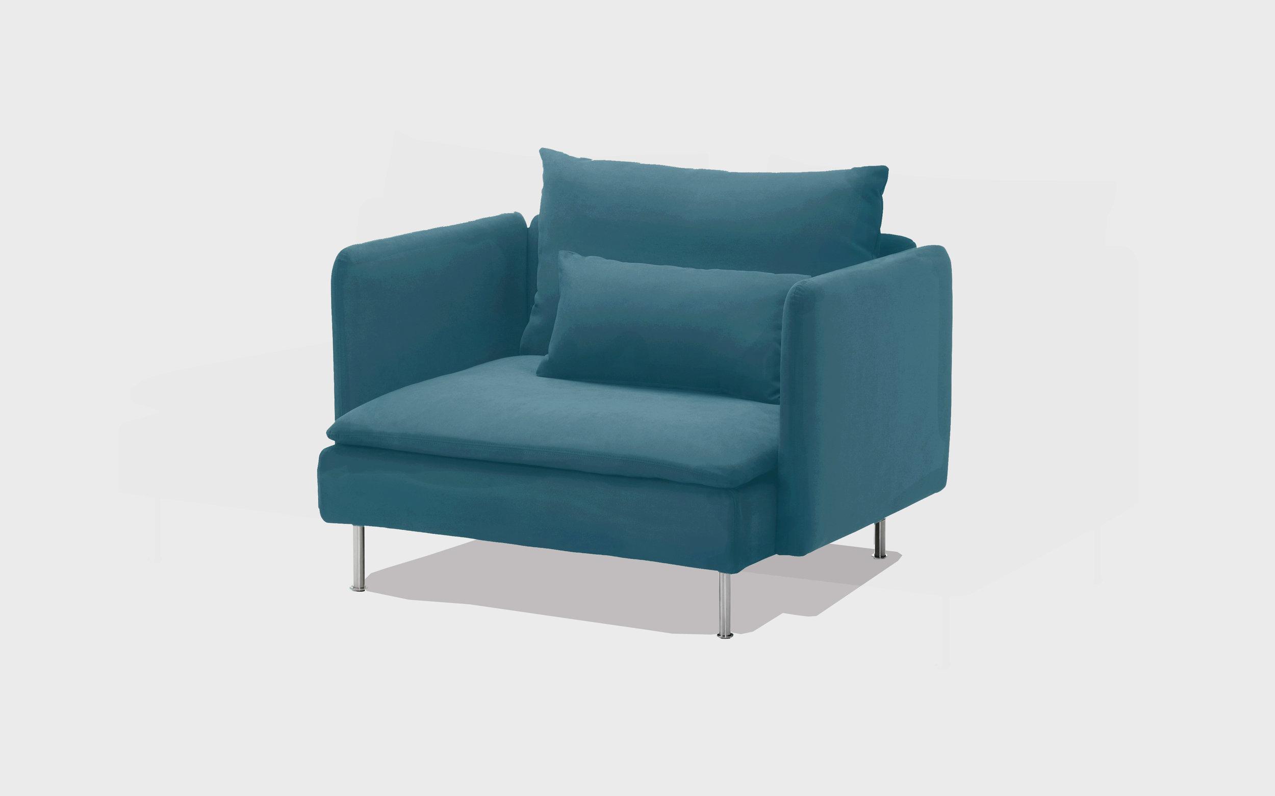 Petrol cotton armchair