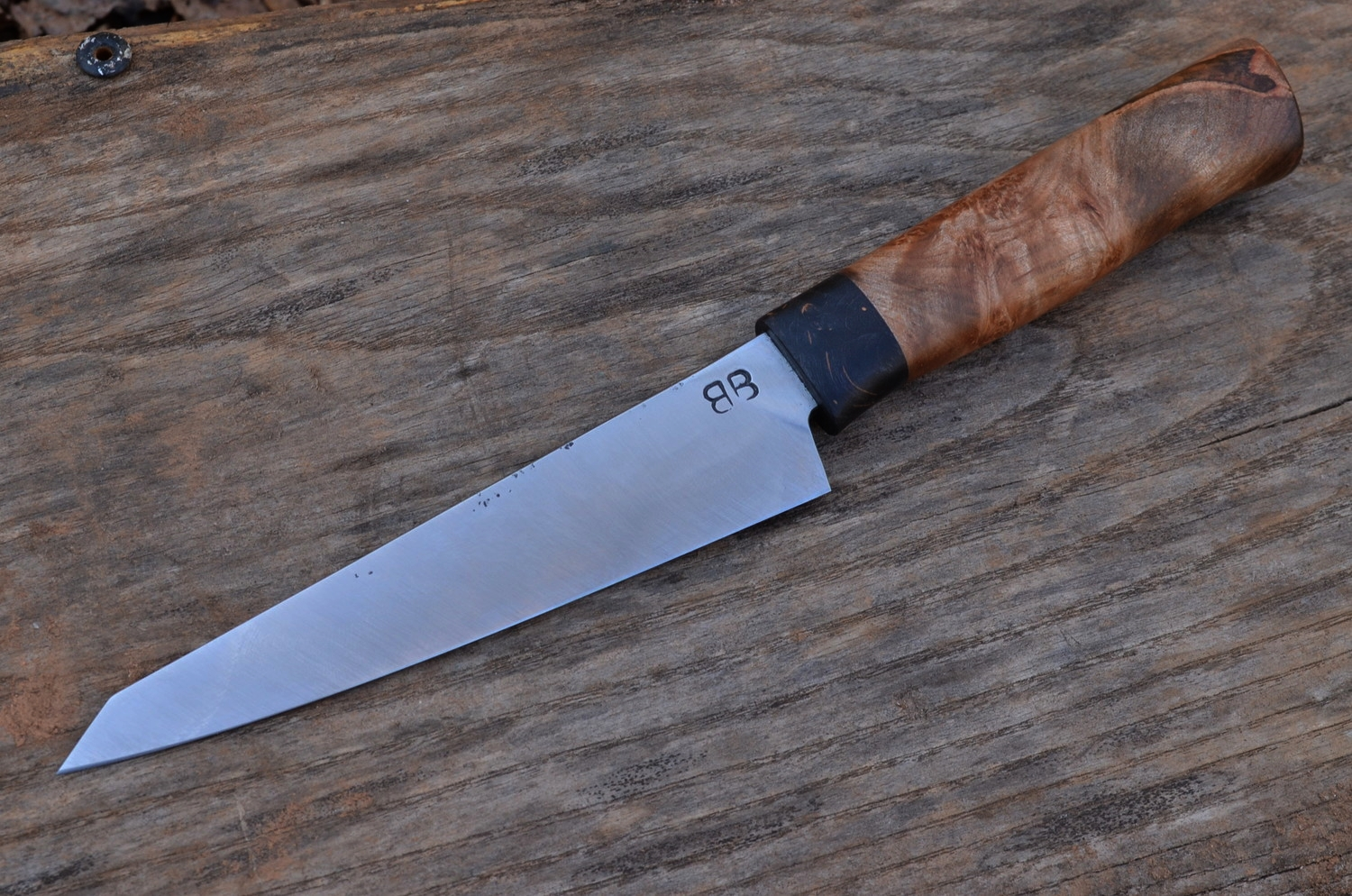 "5.5"" Hidden-Tang Hankotsu with Black Dyed Maple Burl & Maple Burl Westernized Hidden-Tang"