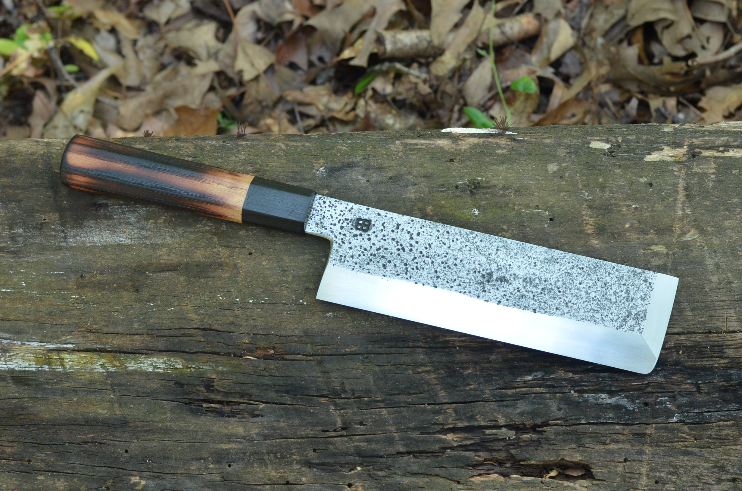 200mm Usuba with Torched black locust and blackwood ferrule