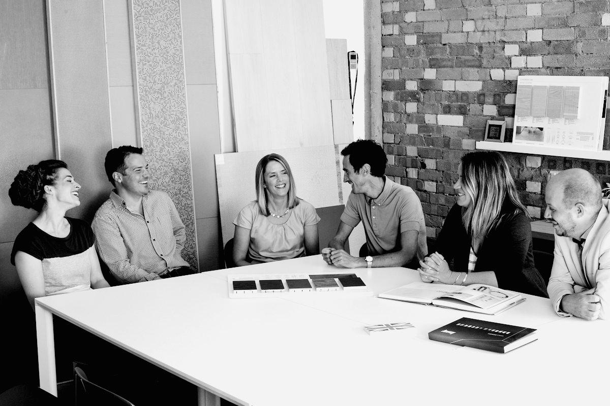 The Burtt-Jones & Brewer team brainstorming their next design project.