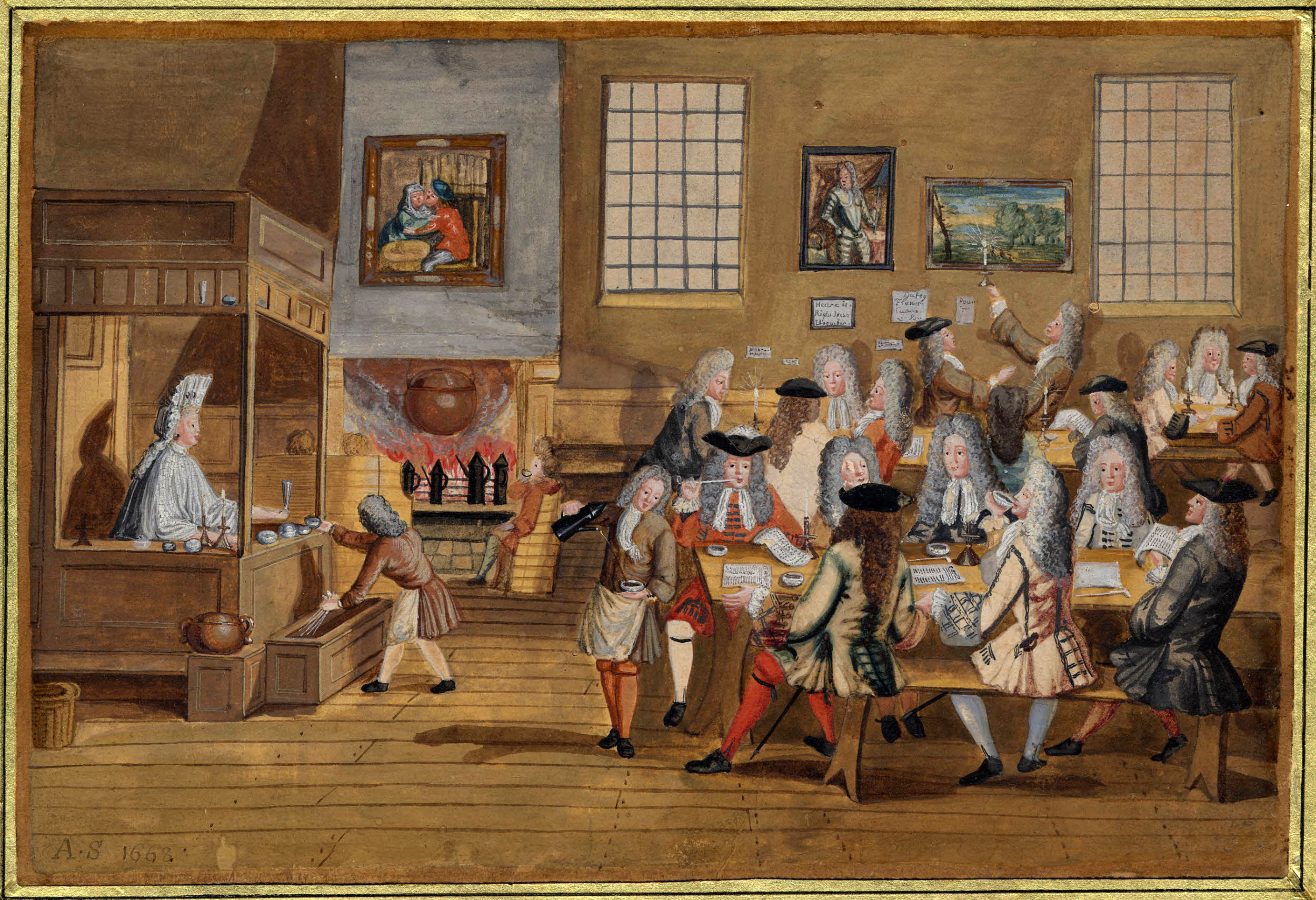 Drawing of a London coffee-house, c. 1690–1700 | Picture from - British Library