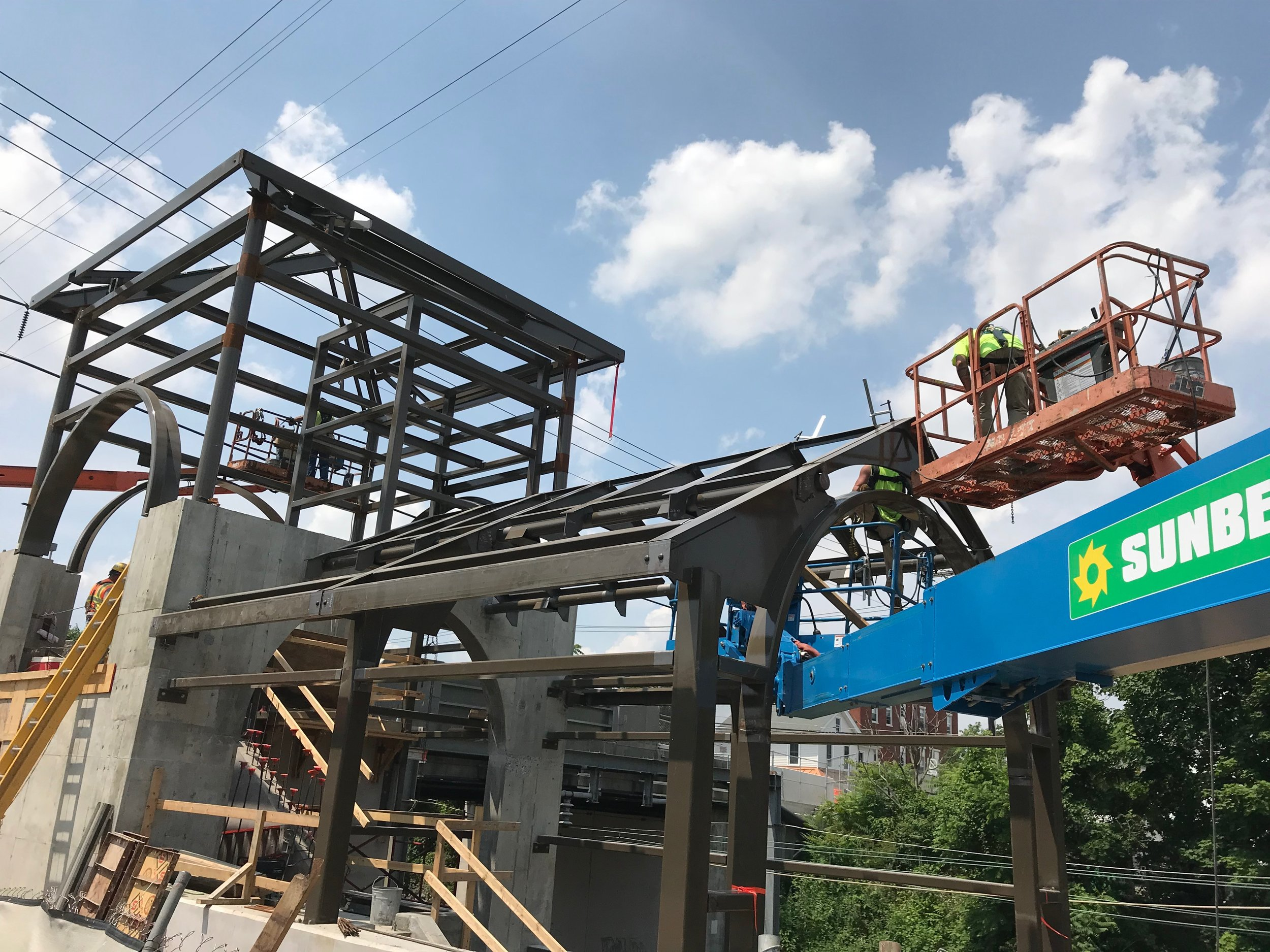 MOUNT JOY AMTRAK TRAIN STATION - Bass has fabricated and erected all strucutral steel and miscellaneous metals portions of this project including bridge and tower roofs, roof decking, canopy framing, elevator enclosure, and other miscellaneous pieces.